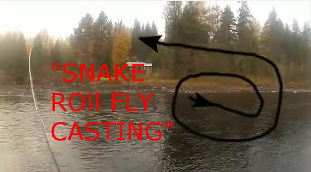 Snake roll fly casting