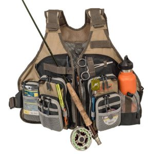 AnglaTech Adjustable Mesh Fly Fishing Vest Loaded