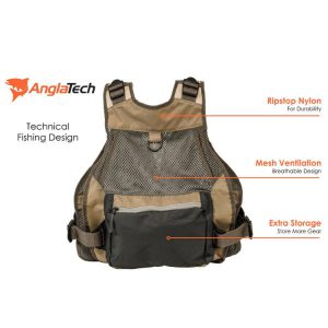 Anglatech adjustable mesh fly fishing vest rear